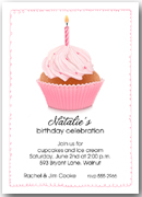 Pink Birthday Cupcake Party Invitations