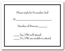 White RSVP Card with Black Border