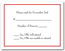 White RSVP Card with Thin Red Border