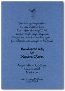 Martini on Shimmery Blue invitation with matching envelopes