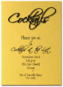 Shimmery Gold 'Cocktail' party invitation with matching envelopes