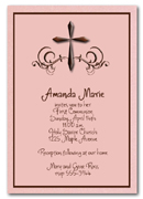 Baptism, Christening, Communion: Swirls & Brown Cross on Shimmery Pink Invitations