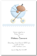 Stroller Ethnic Boy Baby Shower Invitation