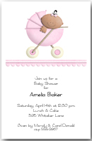Stroller Ethnic Girl Baby Shower Invitation