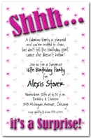 Shhh Hot Pink Polka Dot Surprise Party Invitation