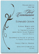 Flourish on Blue Boy First Communion Invitation