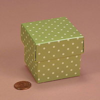 Mint Polka Dot Favor Box 2 inch square two piece boxes