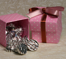Pink Polka Dot Favor Box 2 inch square two piece boxes