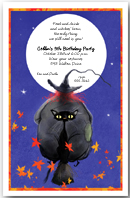 Witch & Cat Broomride Halloween Party Invitation