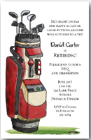 Red Golf Bag on the Green Invitation
