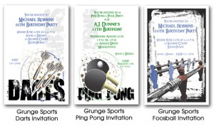 Grunge Look Sports Invitations
