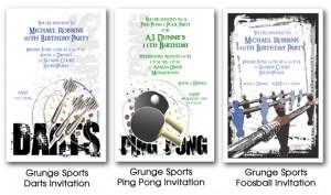 Grunge Look Sports Invitations