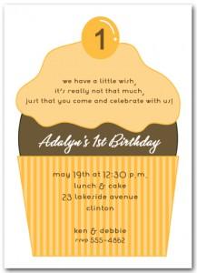 Orange and Chocolate Cupcake First Birthday Invitation