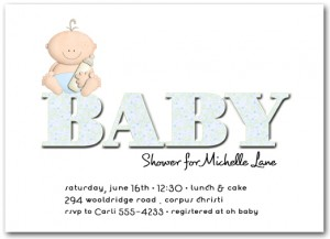 "Baby sitting on large word ""Baby"" Baby Shower Invitations"