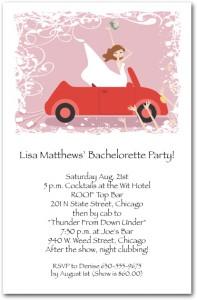 Bachelorette Party Invitation Bride in Convertible