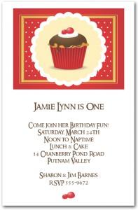 Chocolate Cherry Iced Cupcake First Birthday Invitation