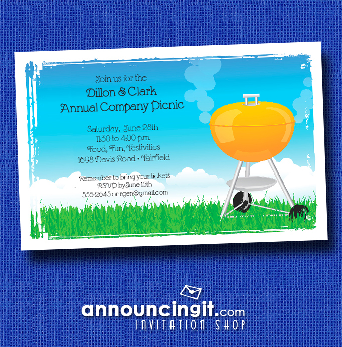 Orange Barbecue Grill Company Picnic Invitations at Announcingit.com