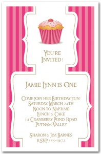 Cupcake on Pink Stripes First Birthday Invitation