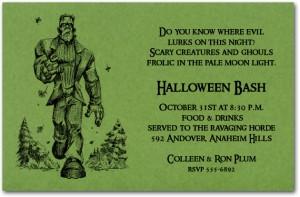 Frankenstein Halloween Invitation
