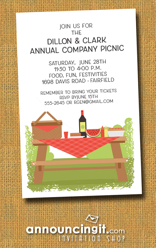 Picnic Table Summer Company Party Invitations at Announcingit.com