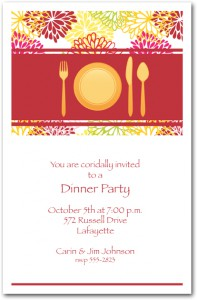 Placesetting and Floral Blooms Dinner Party Invitation