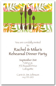 Placesetting on Twisted Vines Dinner Party Invitation
