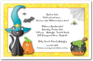 Teal Hat Black Cat Halloween Party Invitation