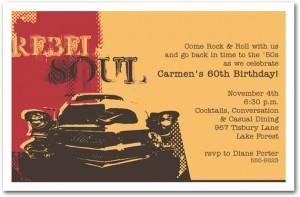 Rebel Soul Classic Car Birthday Party Invitations - Classic car invitations