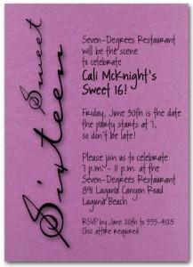 Shimmery Purple Sweet Sixteen Birthday Party Invitation