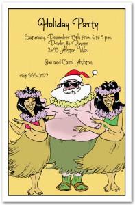 Christmas In Hawaii Party.Hula Holidays Tropical Invitation