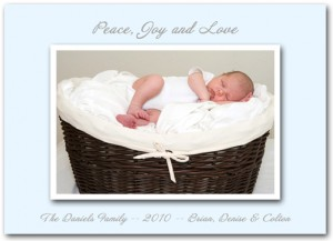 Baby Love Blue Christmas Photo Cards