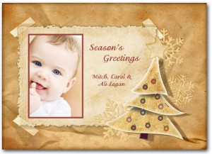 Vintage Holiday Tree Christmas Photo Cards