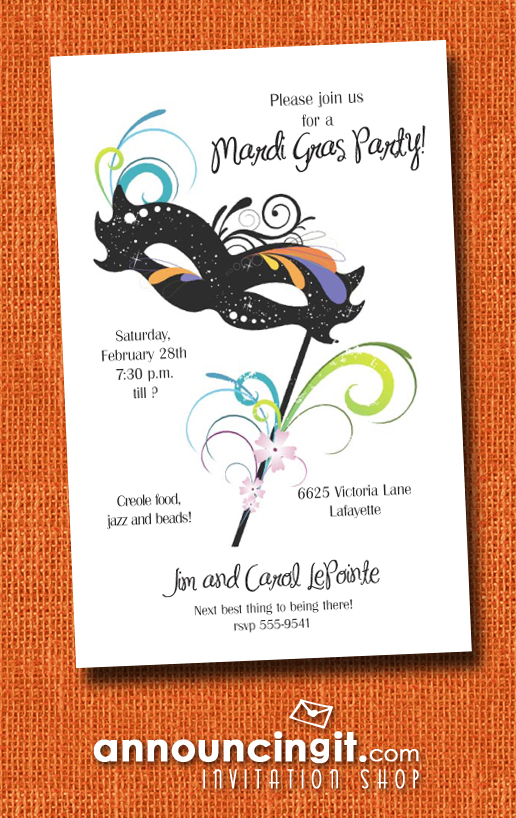 Carnival Black Mask Mardi Gras Party Invitations | See the entire collection at Announcingit.com