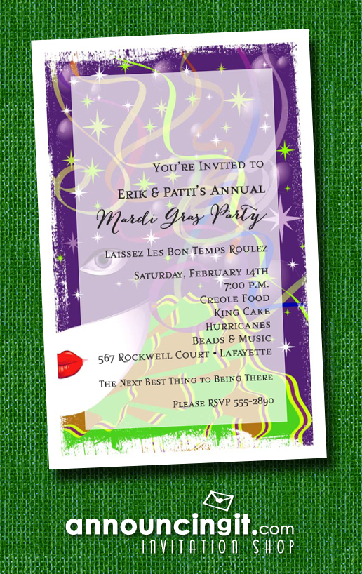 Carnivalesque Mardi Gras Party Invitations | See the entire collection at Announcingit.com