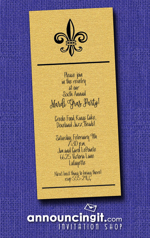 Fleur de Lis on Shimmery Gold Mardi Gras Party Invitations | See the entire collection at Announcingit.com