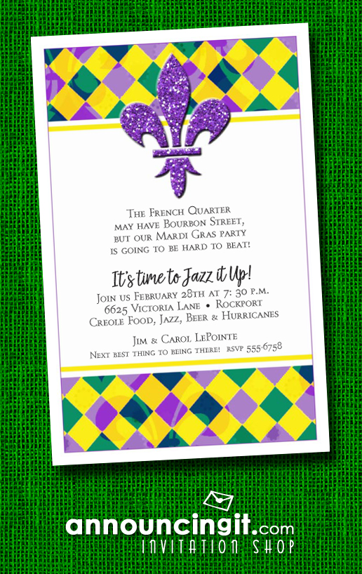 Glitter Fleur de Lis on Harlequin Mardi Gras Party Invitations | See the entire collection at Announcingit.com