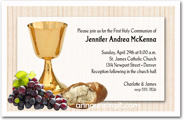 Chalice, Bread & Grapes Religious Invitations
