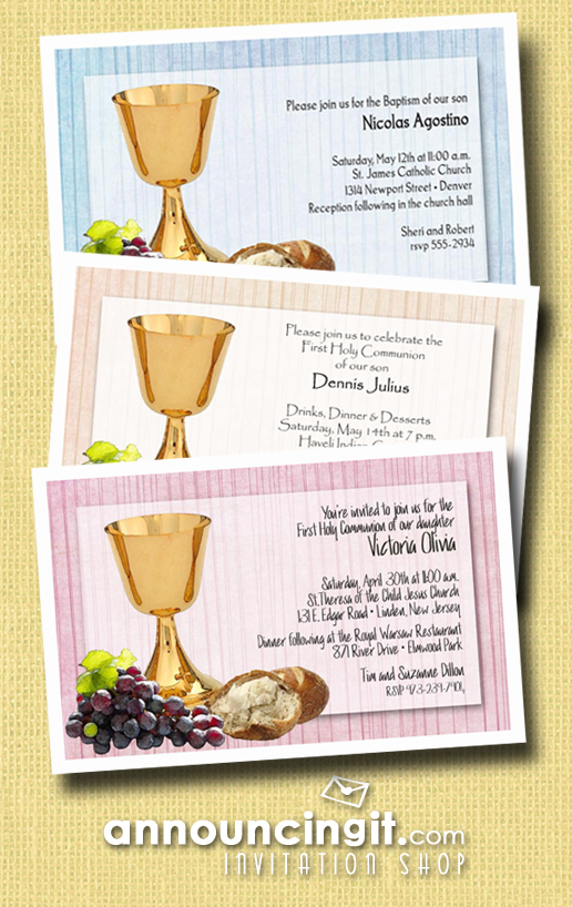 Chalice Grapes and Bread on Baptism or First Communion Invitations from Announcingit.com