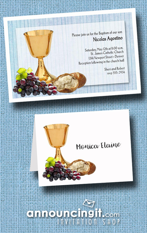 Chalice Grapes and Bread on Blue Boy's Baptism Invitations from Announcingit.com