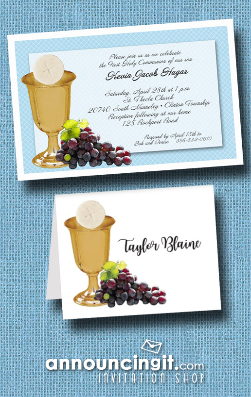 Chalice Wafer and Grapes on Blue Boy's First Communion Invitations from Announcingit.com