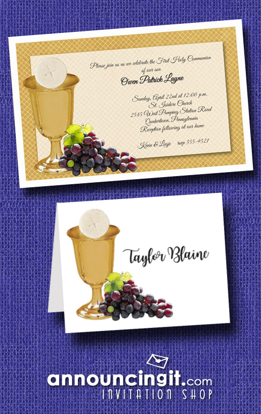 Chalice Wafer and Grapes on Gold First Communion Invitations from Announcingit.com