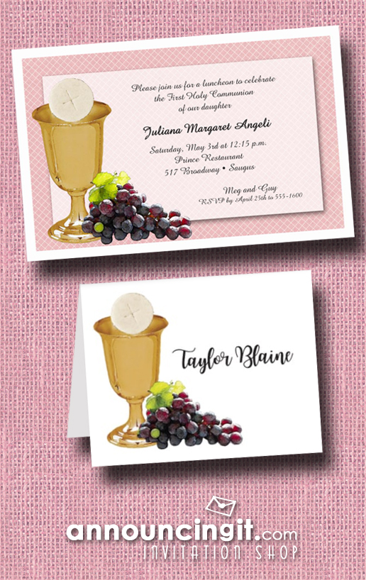 Chalice Wafer and Grapes on Pink Girl's First Communion Invitations from Announcingit.com