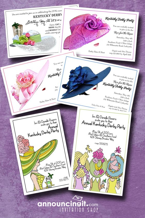 Kentucky Derby Hats Party Invitations | See the entire collection at Announcingit.com