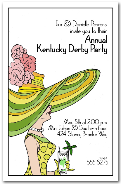 Derby Day Mint Julep and Hat Lady Kentucky Derby Party Invitations