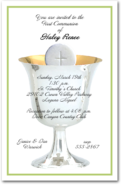 Green Border Silver Chalice and Host First Communion Invitations