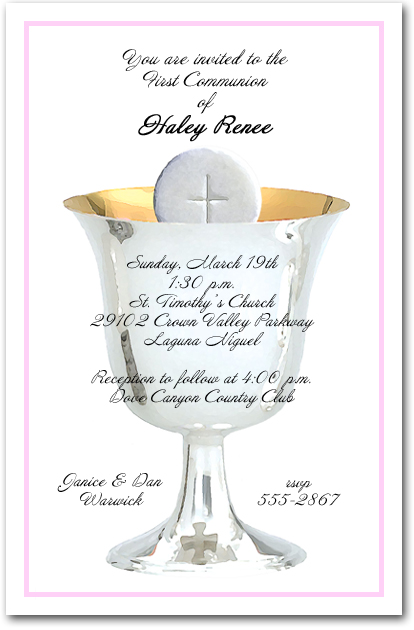 Pink Border Silver Chalice Girls First Communion Invitations