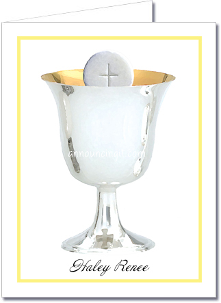 Yellow Border Silver Chalice Thank You Notes