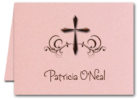 Swirled Brown Cross on Shimmery Pink Thank You Notes