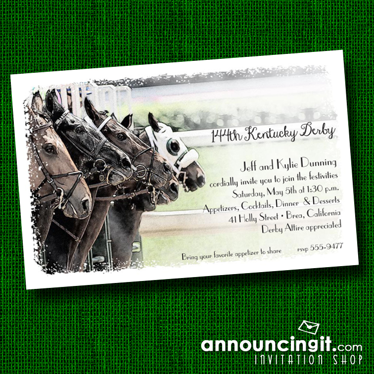 The Starting Gate Kentucky Derby Party Invitations | See the entire collection at Announcingit.com