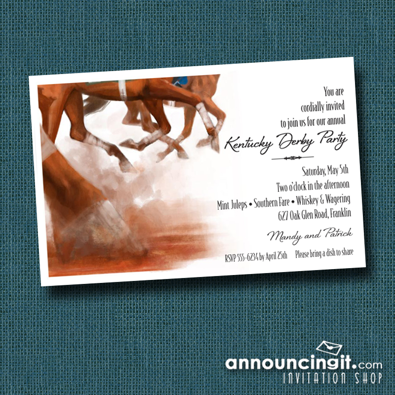 Thundering Horses Kentucky Derby Party Invitations | See the entire collection at Announcingit.com